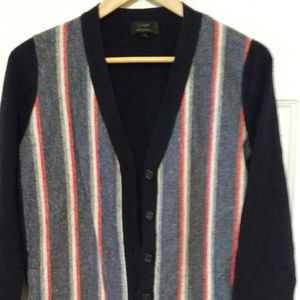 J. Crew stripe wool & cashmere cardigan medium
